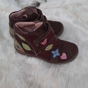 Umi Girls Leather Floral kids Boods Sz 9/26
